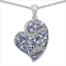 3.39CTW Genuine Tanzanite & White Topaz .925 Sterling Silver Pendant
