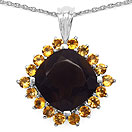 7.49CTW Genuine Smoky Topaz & Citrine .925 Sterling Silver Cushion Shape Pendant