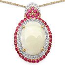 7.00CTW Genuine Opal & Created Ruby 14K Yellow Gold Plated .925 Sterling Silver Oval Shape Pendant