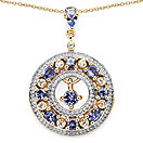 1.63CTW Genuine Tanzanite & White Topaz 14K Yellow Gold Plated .925 Sterling Silver Pendant