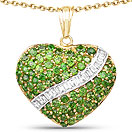 4.51CTW Genuine Chrome Diopside & White Topaz 14K Yellow Gold Plated .925 Sterling Silver Heart Shape Pendant
