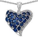 5.54CTW Genuine Blue Sapphire & White Diamond .925 Sterling Silver Heart Shape Pendant