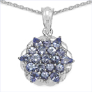 2.14CTW Genuine Tanzanite .925 Sterling Silver Pendant