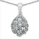 2.06CTW Genuine Aquamarine & White Diamond .925 Sterling Silver Pendant
