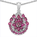 3.81CTW Genuine Ruby & White Cubic Zircon .925 Sterling Silver Pendant