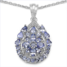 2.59CTW Genuine Tanzanite & White Cubic Zircon .925 Sterling Silver Pendant
