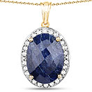 20.88CTW Genuine Dyed Sapphire & White Topaz 14K Yellow Gold Plated .925 Sterling Silver Solitaire Pendant