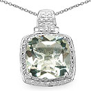 6.30CTW Genuine Green Amethyst .925 Sterling Silver Cushion Shape Pendant