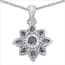 2.34CTW Amethyst & Tanzanite .925 Sterling Silver Pendent