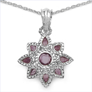 2.90CTW Genuine Ruby .925 Sterling Silver Pendent