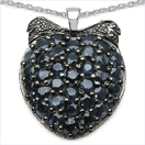 4.86CTW Genuine Blue Sapphire .925 Sterling Silver Pendant