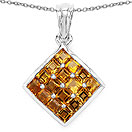 2.40CTW Genuine Citrine .925 Sterling Silver Square Shape Pendant