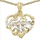 Heart Shape Grandma 14K Yellow Gold Plated .925 Sterling Silver Pendant