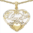 Heart Shape I Love You 14K Yellow Gold Plated .925 Sterling Silver Pendant