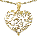Heart Shape Love 14K Yellow Gold Plated .925 Sterling Silver Pendant