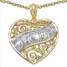 Heart Shape Mom 14K Yellow Gold Plated .925 Sterling Silver Pendant