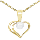 0.32CTW Genuine Pearl .925 Sterling Silver Gold Plating Pendant