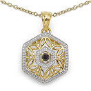 0.12CTW Genuine Black Diamond Two Tone Plated .925 Sterling Silver Pendant