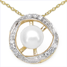 1.25CTW Genuine Pearl & White Cubic Zircon .925 Sterling Silver Gold Plating Pendant