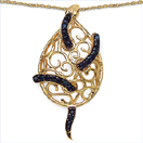 0.90CTW Genuine Blue Sapphire .925 Sterling Silver 14K Yellow Gold Plated Pendant