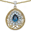 4.50CTW Genuine Blue Topaz Two Tone Plated .925 Sterling Silver Pendant