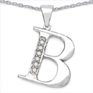 0.06CTW Genuine White Diamond Alphabet Letter B .925 Sterling Silver Pendant