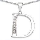 0.06CTW Genuine White Diamond Alphabet Letter D .925 Sterling Silver Pendant