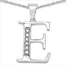 0.06CTW Genuine White Diamond Alphabet Letter E .925 Sterling Silver Pendant
