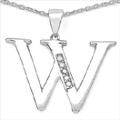 0.05CTW Genuine White Diamond Alphabet Letter W .925 Sterling Silver Pendant