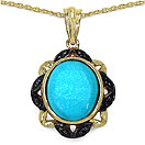 4.82CTW Genuine Turquoise & Black Spinel 14K Yellow Gold Plated .925 Sterling Silver  Pendant