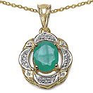 2.08CTW Genuine Emerald & White Topaz 14K Yellow Gold Plated .925 Sterling Silver Pendant