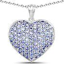 2.43CTW Genuine Tanzanite .925 Sterling Silver Heart Shape Pendant