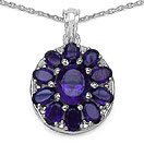7.00CTW Genuine Amethyst .925 Sterling Silver Pendant