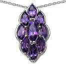 4.12CTW Genuine Amethyst .925 Sterling Silver Marquise Shape Pendant