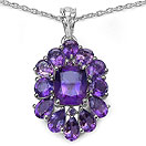7.64CTW Genuine Amethyst .925 Sterling Silver Pendant