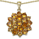 7.70CTW Genuine Citrine 14K Yellow Gold Plated .925 Sterling Silver Pendant