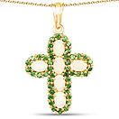 3.11CTW Genuine Ethiopian Opal & Chrome Diopside 14K Yellow Gold Plated .925 Sterling Silver Cross Shape Pendant