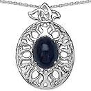 4.11CTW Genuine Blue Sapphire .925 Sterling Silver Pendant