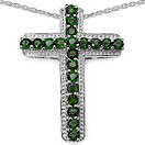 2.40CTW Genuine Chrome Diopside .925 Sterling Silver Cross Shape Pendant