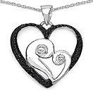 Mother's Day Special: 0.25CTW Genuine Black Diamond .925 Sterling Silver Heart Pendant