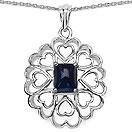 4.45CTW Genuine Blue Sapphire .925 Sterling Silver Heart Shape Pendant