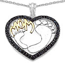 1.08CTW Genuine Black Spinel Two Tone Plated .925 Sterling Silver Heart Shape Mom Pendant