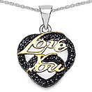 0.36CTW Genuine Black Spinel Two Tone Plated .925 Sterling Silver Heart Shape Pendant
