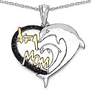 Mother's Day Special: 0.15CTW Genuine Black Diamond .925 Sterling Silver Two Tone Plated Heart Pendant