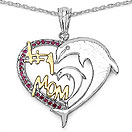 Mother's Day Special: 0.21CTW Genuine Created Ruby .925 Sterling Silver Two Tone Plated Heart Pendant