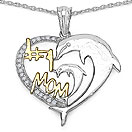 Mother's Day Special: 0.15CTW Genuine White Diamond .925 Sterling Silver Two Tone Plated Heart Pendant