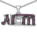 Mother's Day Special: 0.41CTW Created Ruby & White Diamond .925 Sterling Silver Two Tone Plated Pendant