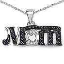Mother's Day Special: 0.41CTW Genuine Black Spinel & White Diamond .925 Sterling Silver Two Tone Plated Pendant