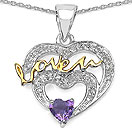 Mother's Day Special: 0.54CTW Genuine Amethyst & White Topaz .925 Sterling Silver Two Tone Plated Heart Pendant
