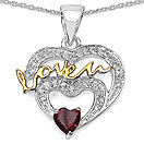 Mother's Day Special: 0.64CTW Genuine Garnet & White Topaz .925 Sterling Silver Two Tone Plated Heart Pendant